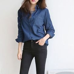 Hello sweety - Tab-Sleeve Denim Shirt