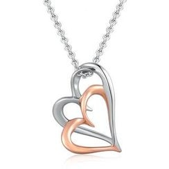 MBLife.com - 925 Silver Two Tone Double Open Heart Necklace (16') Jewelry Gift