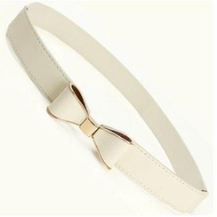 Charm n Style - Metal Trim Bow Accent Slim Belt