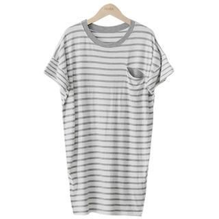 PEPER - Drop-Shoulder Pocket-Front Striped T-Shirt