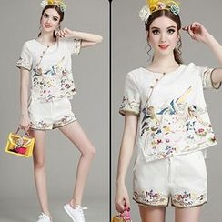 MIUCO - Set: Birds Embroidered Short Sleeve T-Shirt + Shorts