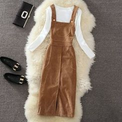 Clementine - 套裝: 燈芯絨背帶裙 + 長袖上衣