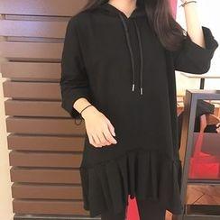 Dute - Pleated Hem 3/4 Sleeve Hoodie Dress