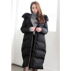 Dalkong - Faux-Fur Hood Thick Padded Coat