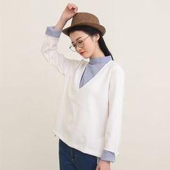 三木社 - 假两件V领衬衫