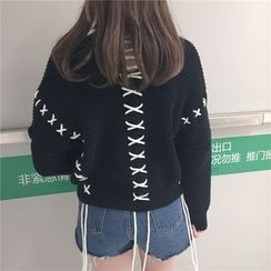 Anlay - Fringed Loose-Fit V-Neck Sweater