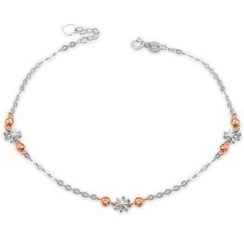 MaBelle - 14K Italian Rose and White Gold Diamond-Cut Flower Stars and Beads Station Anklet (23cm), Women Girl Jewelry in Gift Box