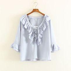 Mushi - Ruffle Trim Lace Up Front Long Sleeve Chiffon Blouse