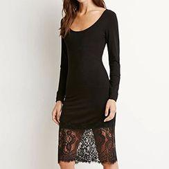 Rebecca - Lace Hem Long-Sleeve Dress