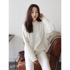 maybe-baby - Round-Neck Wool Blend Knit Top
