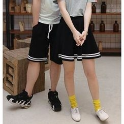 Lovebirds - Contrast-Stripe Couple Shorts /  A-Line Skirt