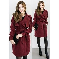 INSTYLEFIT - Open-Front Trench Coat with Sash