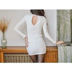 UUZONE - Cutaway-Detail Asymmetric-Hem Ribbed Dress