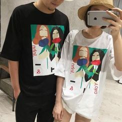 HazyDazy - Print Elbow Sleeve Couple Matching T-Shirt