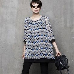 HALUMAYBE - Patterned Chiffon Blouse