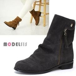 MODELSIS - Genuine-Leather Zip-Side Ankle Boots