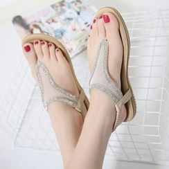 Anran - Rhinestone Thong Sandals