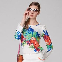 O.SA - Puff-Sleeve Printed Top