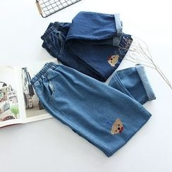 Vateddy - Bear Embroidered Washed Jeans