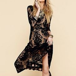 Obel - Long-Sleeve Lace Maxi Dress
