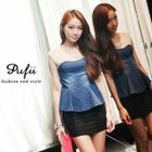 PUFII - Woven-Panel Denim Peplum Top