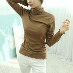 Dodostyle - Frill-Detail Turtle-Neck Top