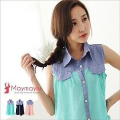 Maymaylu Dreams - Denim-Trim Chiffon Tank Blouse