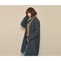 HOTPING - Single-Breasted Mélange Coat