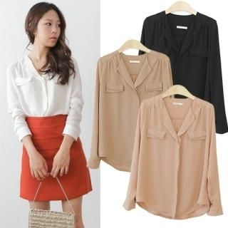 Pocket-Accent Chiffon Blouse