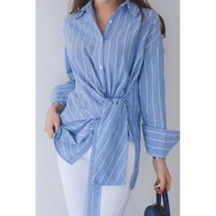 migunstyle - Tie-Waist striped Shirt