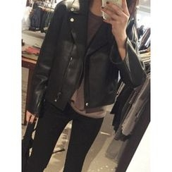 maybe-baby - Notched-Lapel Faux-Leather Jacket
