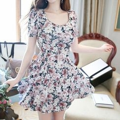 Marlangrouge - Short-Sleeve Floral Print A-Line Minidress