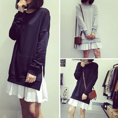 Melon Juice - Long-Sleeve Mock Two Piece Dress