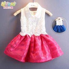 Kidora - 潮童裝兒童夏裝2015蕾絲方領條紋紗裙氣質假兩件女童連衣裙子Z92
