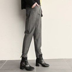 NIPONJJUYA - Seam-Trim Wool Blend Jogger Pants