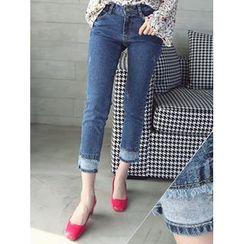 LOLOten - Fray-Hem Cropped Jeans
