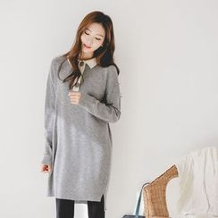 JUSTONE - Contrast-Collar Wool Blend Knit Polo Dress