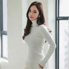 Babi n Pumkin - Turtle-Neck Ribbed Top