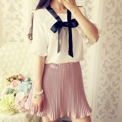 Cobblestone - Bow-Accent Pleated Blouse