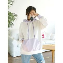 LOLOten - Hood Kangaroo-Pocket Color-Block Pullover