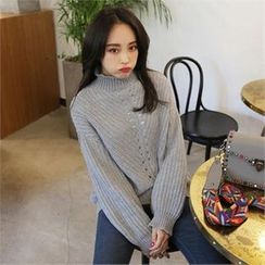 QNIGIRLS - Turtle-Neck Pointelle-Knit Sweater