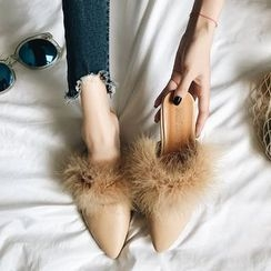 Chachalaca - Pointy Toe Furry Flat Mules