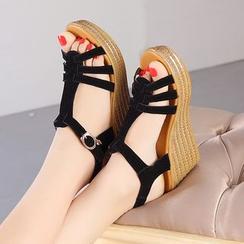 Hannah - T-Strap Platform Wedge Sandals