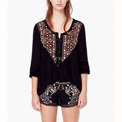 Hotprint - Embroidered Yoke Top