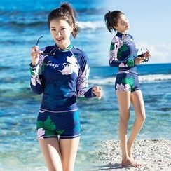 Thein - Set: Floral Print Rashguard + Swim Shorts