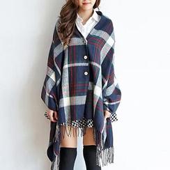 BAIMOMO - 流蘇格紋圍巾