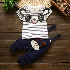 POMME - Kids Set: Stripe Short-Sleeve T-Shirt + Embroidered Jumper Pants