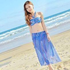 Rachel Swimwear - 套裝: 印花掛脖比基尼 + 圍巾