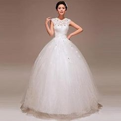 Pure Colors - Cap-Sleeve Lace Tulle Wedding Dress