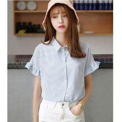 Oaksa - Short-Sleeve Pinstriped Shirt